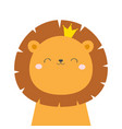 lion king face head icon kawaii animal golden vector image