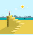 man on beach with flag on the top of the stairs vector image vector image
