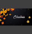 marry christmas and happy new year banner on dark vector image vector image