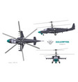 military helicopter 3d blueprint top side front vector image vector image