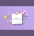 mothers day papercut nature card template frame vector image vector image