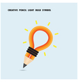 Pencil and light bulb on background vector image vector image