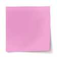 Pink rosy sticky note with turned up corner vector image vector image