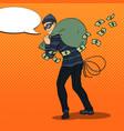 pop art thief in black mask stealing money vector image vector image