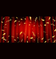 red curtain with gold confetti vector image vector image