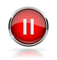 red round media button pause button shiny icon vector image
