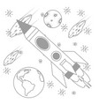 rocket with planets and asteroid vector image vector image