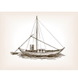 Sailing ship wine barrels sketch vector image vector image