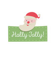 santa claus greeting card cute cartoon style vector image vector image