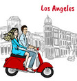 scooter driving on rodeo drive vector image vector image