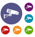 security camera icons set vector image vector image