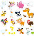 Set of simple images of farm animals vector image vector image