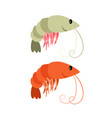 shrimps cartoon icons set vector image