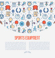sport equipment concept with thin line icons vector image vector image