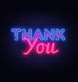 thank you neon sign you design vector image