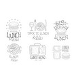 time to lunch hand drawn retro labels set best in vector image