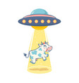 ufo and cow vector image