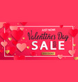 valentines day sale background with gold hearts vector image