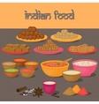 Vedic Indian cuisine set of vegetarian healthy vector image vector image