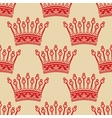 Vintage seamless background with red crown pattern vector image