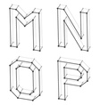 wireframe font alphabet letters M N O P vector image vector image