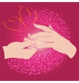 Groom puts the ring on the bride hand vector image