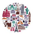 landmark travel icons in the form of a circle vector image