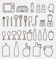 Outline Kitchen Icon Set Graphics vector image