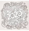 2020 hand drawn doodles contour line vector image vector image