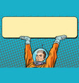 astronaut holding a banner poster vector image