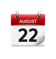 August 22 flat daily calendar icon Date vector image vector image