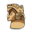 aztec statue head ethnic totem vector image