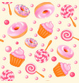 background seamless sweet donuts candy cupcakes vector image