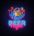 beer neon sign beer night design template vector image vector image