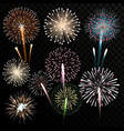 Big set of isolated fireworks vector image vector image