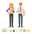 businessman and businesswoman characters vector image