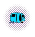Camping trailer icon comics style vector image vector image