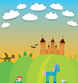 Card landscape with castle wizard Cartoon Dragon vector image vector image