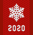christmas card 2020 with isometric 3d snowflake vector image