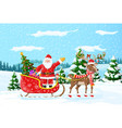 christmas santa claus rides reindeer sleigh vector image vector image