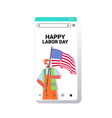 cleaner in uniform holding usa flag labor day vector image vector image
