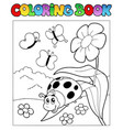 coloring book with ladybug 1 vector image