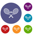 crossed tennis rackets and ball icons set vector image vector image