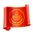 curved red ribbon brand quality mark vector image