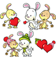 cute bunnies isolated on white background vector image vector image