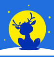 cute reindeer cartoon silhouette on snow n vector image vector image
