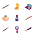 Decorative cosmetic icons set cartoon style vector image vector image