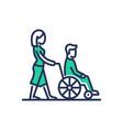 disabled people help - modern line design vector image vector image