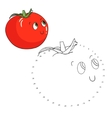Educational game connect dots draw tomato vector image vector image
