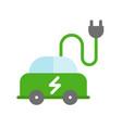 electric car icon green energy flat design vector image vector image